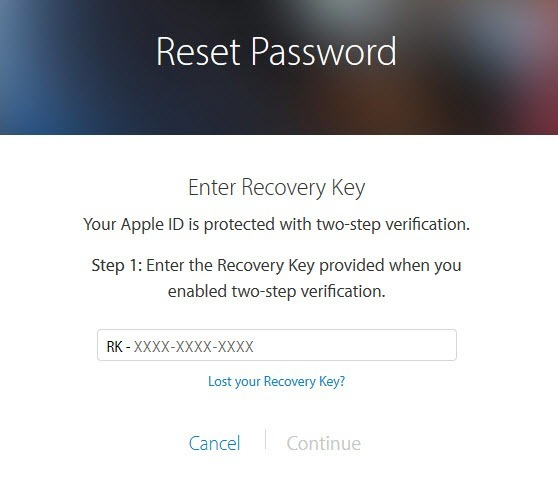 lost my apple password and recovery key