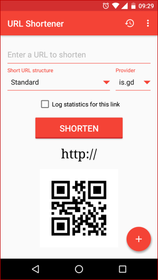 URL Shortener App Home Page