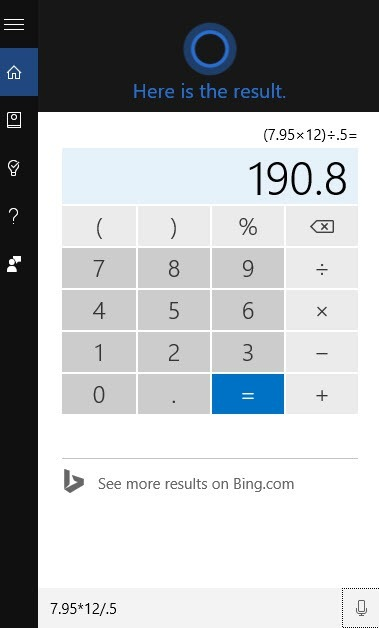 use cortana as a calculator
