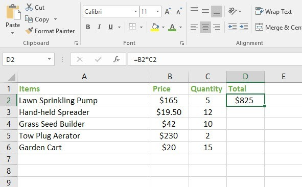 Fill the formula using relative references