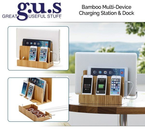 G.U.S. Eco-Friendly Bamboo Multi-Device Charging Station and Dock