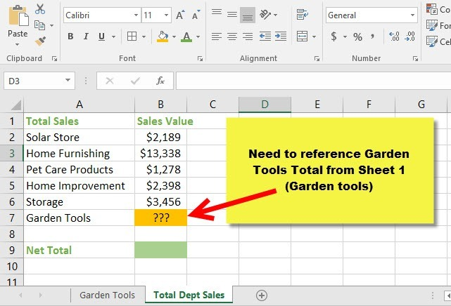 How to Reference Cells across Worksheets2