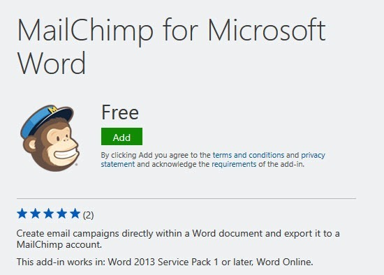 MailChimp for Word