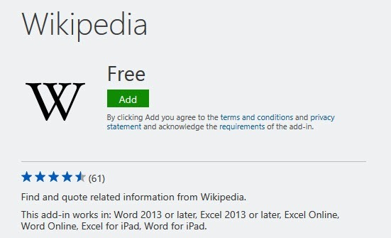 Wikipedia Word Add-ins
