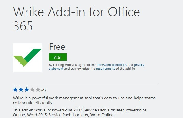Wrike Add-in for Office 365
