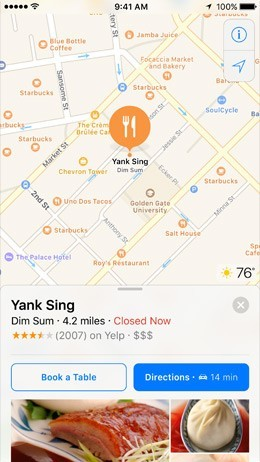 ios 10 features - place reservations in maps
