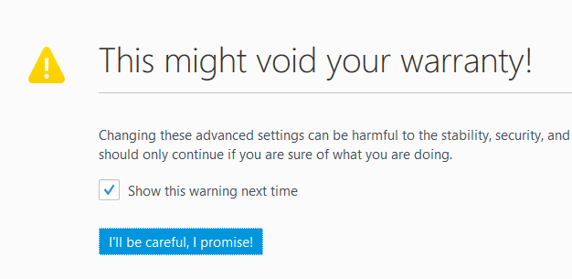 Firefox Warning Message