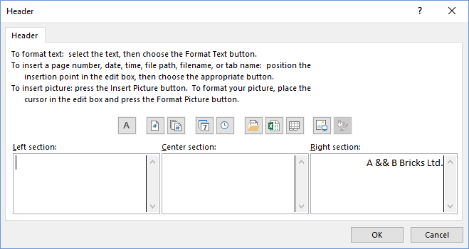 Header dialog with & sign