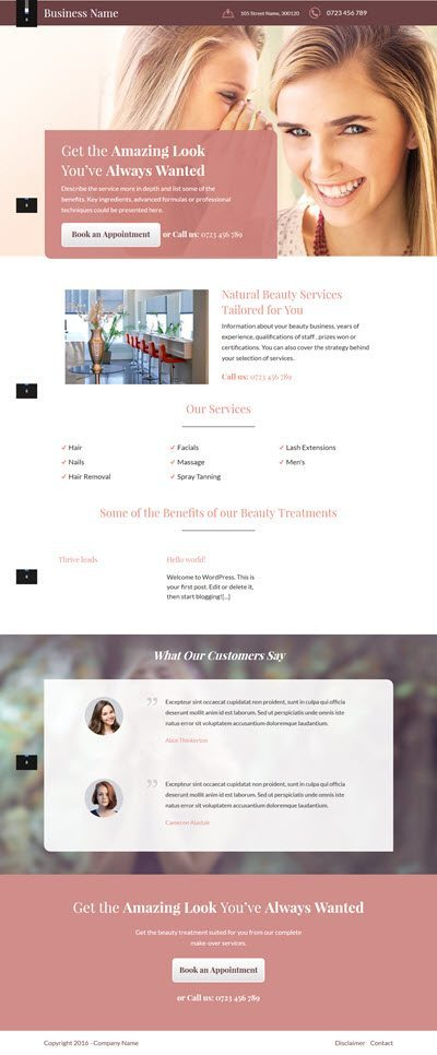 Business Landing Page Templates - For Beauty Salons