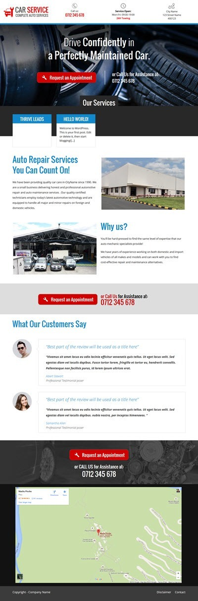Thrive Themes Landing Page Template for Car Mechanics
