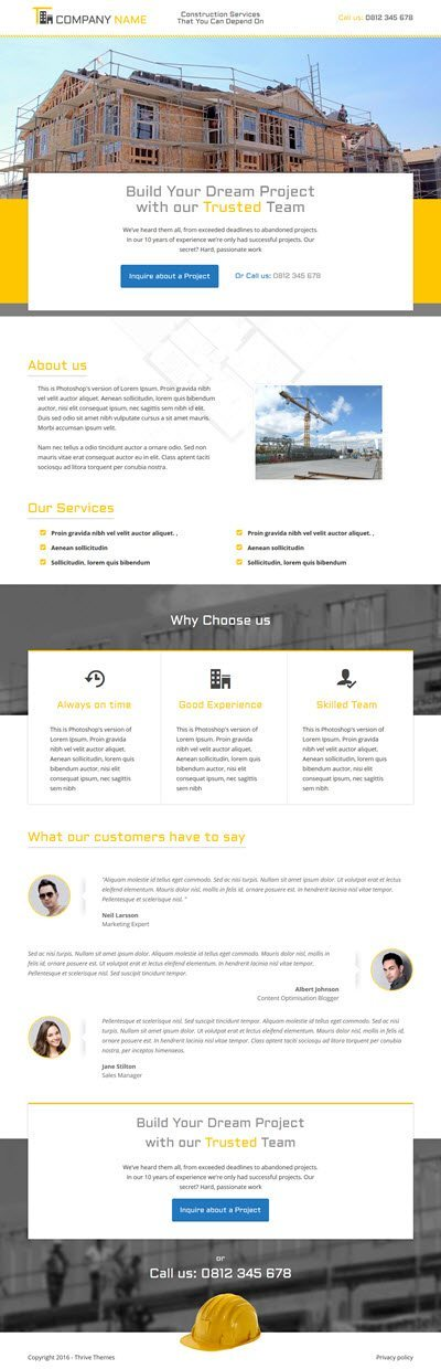 Thrive Themes Landing Page Template for Construction