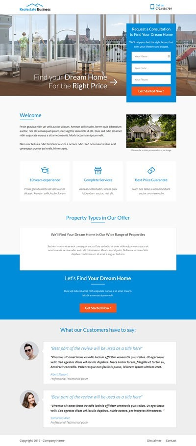 Thrive Themes Landing Page Template for Realtors