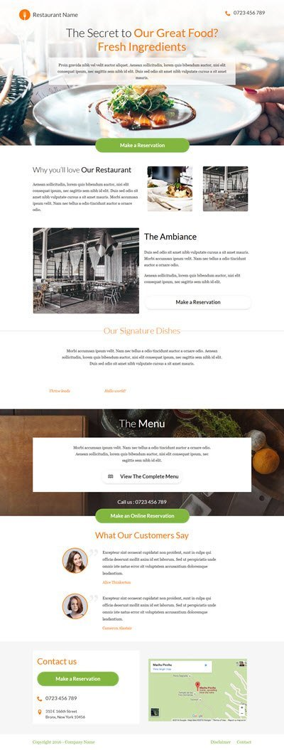 Thrive Themes Landing Page Template for Restaurants
