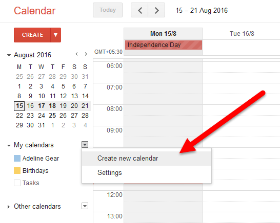 Create a new google calendar
