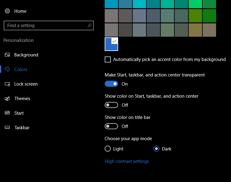 Set a Dark Theme in windows 10