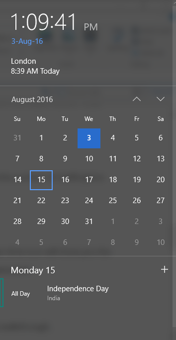 Taskbar Calendar Improvements