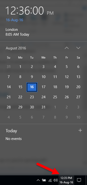 The Windows Calendar pane