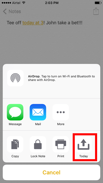 Today Snippet in Control Center