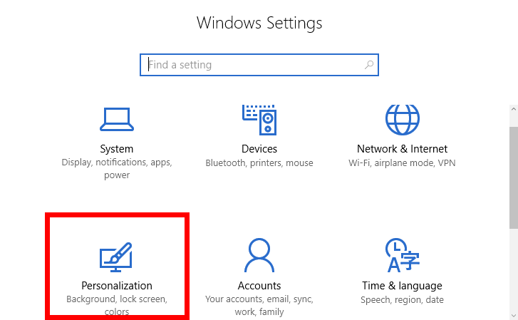 Windows 10 Personalization