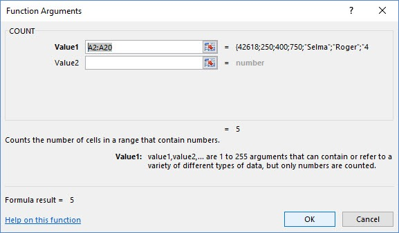 Function Arguments for Excel Count Function