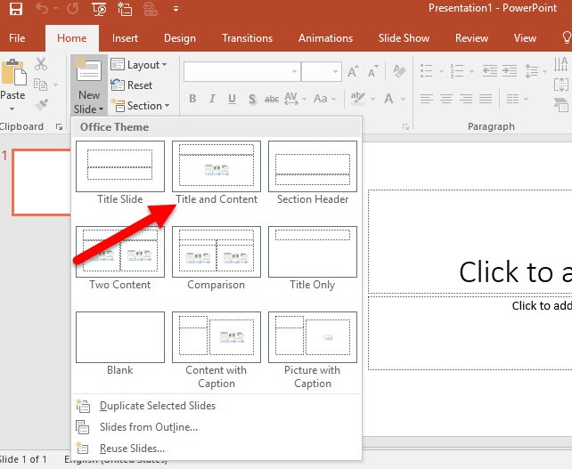 Inserting a PowerPoint slide