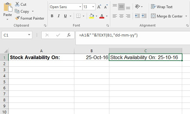 How to Combine Text with a Date in Excel