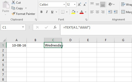 find weekday from date in excel