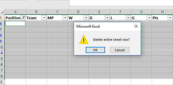 how to mass delete blank rows in google sheets