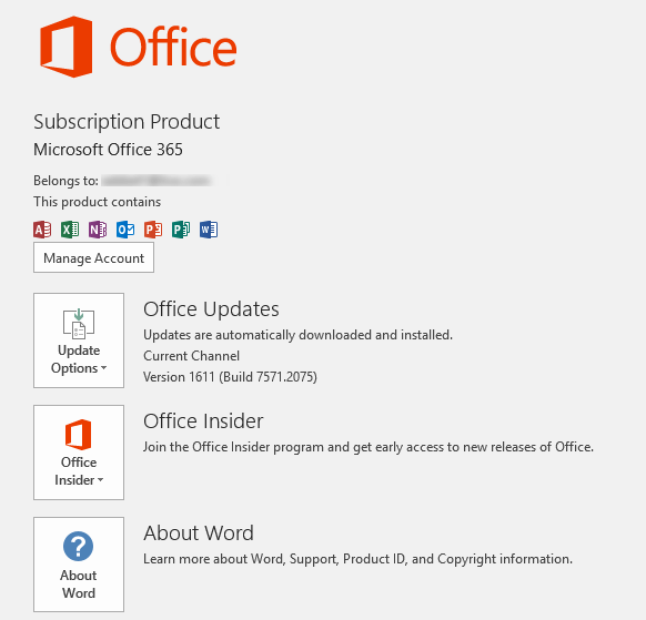 Office Version details