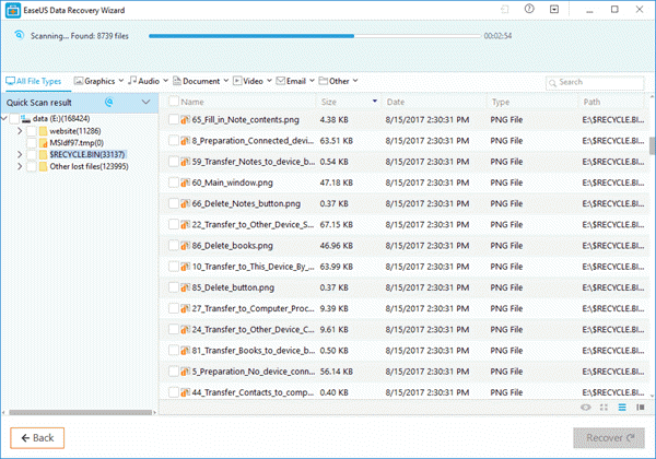 Scan results in EaseUs Data Recovery Wizard