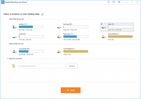 location of data - EaseUS Data Recovery Wizard Free 11.8