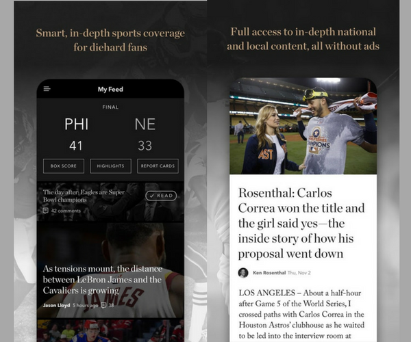 The Athletic - Must-Have Apps For Sports Fans (2018)