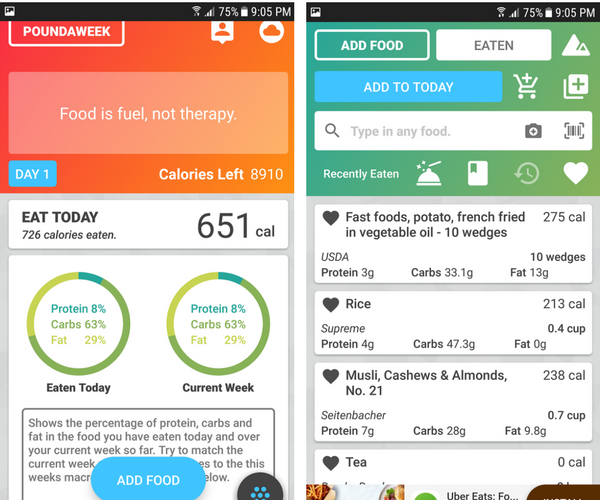 Poundaweek Calorie Counter App