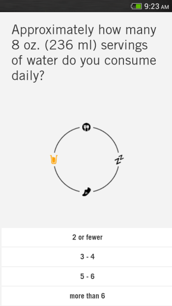 Questions in Nudge Health Tracking Curated App