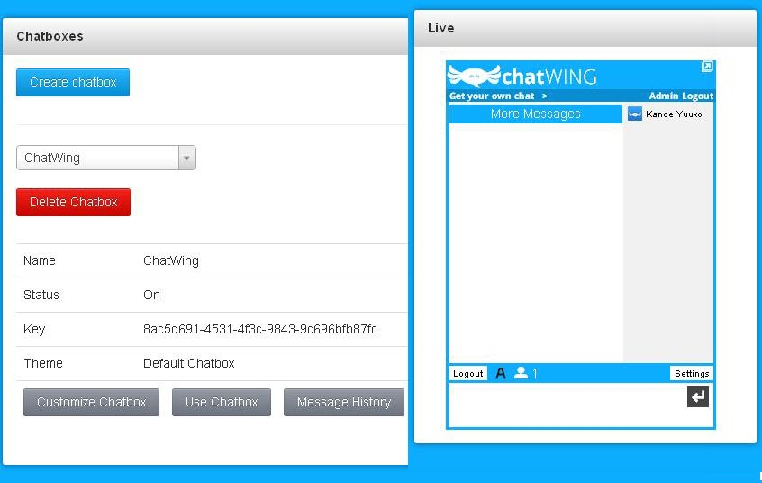 Chatwing Dashboard.