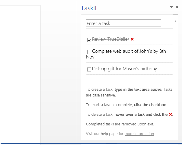 Create Checklists and Track Tasks in Word 2013 Using Add-in TaskIt