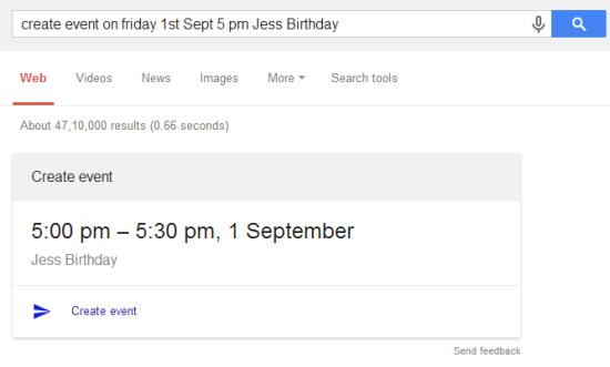 Create a Google Calendar Event from the Google Home Page