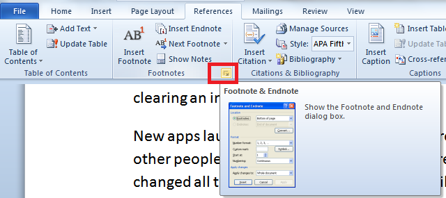 footnote and endnote dialog box launcher