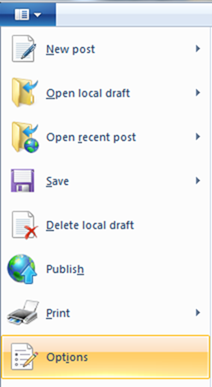 windows live writer options