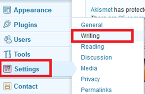 wordpress writings setting