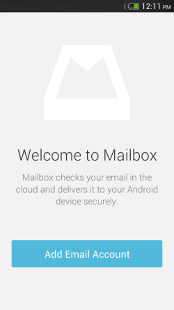 The Wecome screen of Mailbox