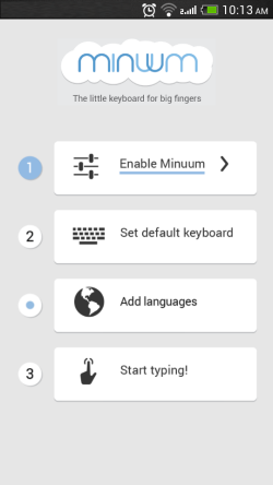 Minuum Keyboard wizard