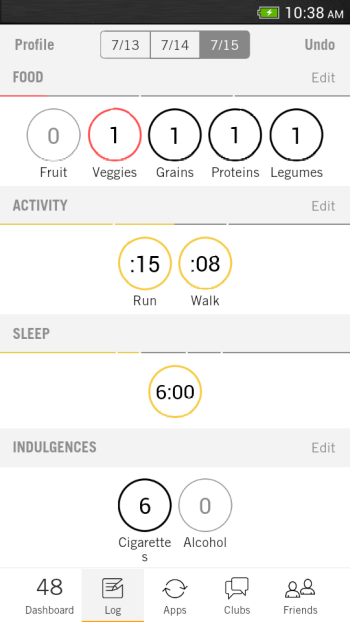 fitness app nudge activity log