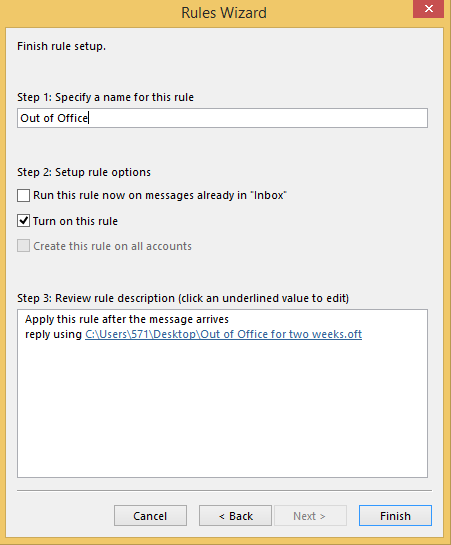 Create Automatic Replies Outlook 2013