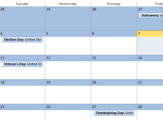 Add Holidays to Outlook