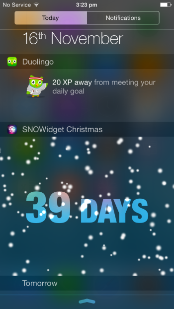 SNOWidget Christmas Notifications