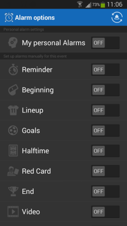Score Alarm options