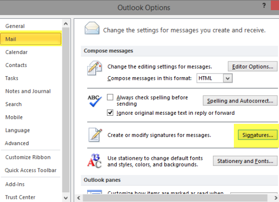 Backup Outlook Signatures and Restore Them Outlook 2010