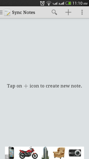 Sync Notes home screen