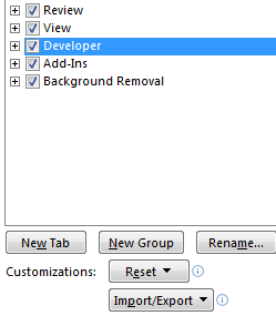 how to activate the developer tab